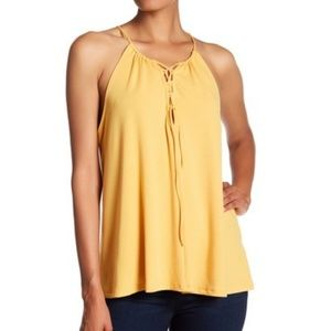 RO&DE Yellow Lace-Up Bust Tank Top